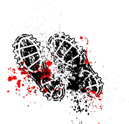 boot print: Shoes print ink blots Illustration