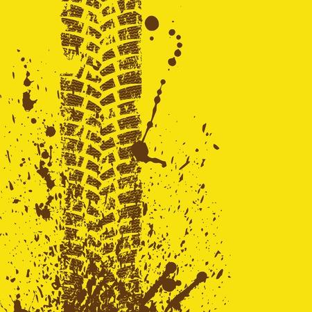 huellas de llantas: Pista del neumático marrón Vectores