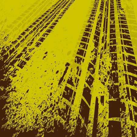 off track: Yellow tire track background