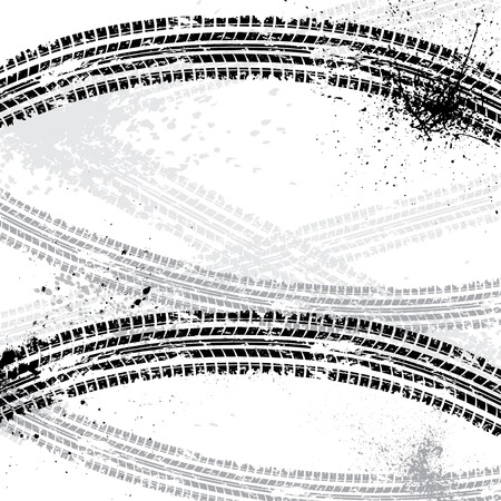 off road: Ink blots tire track Illustration
