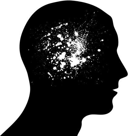emotional pain: Head ink blots Illustration