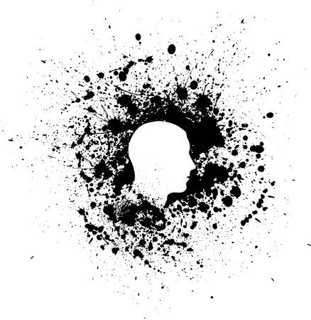 Head ink blots Illustration