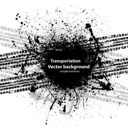 Black grunge ink blots tire track Vettoriali
