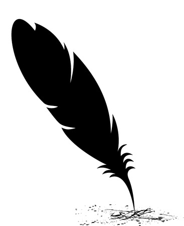 old writing: Feather blots