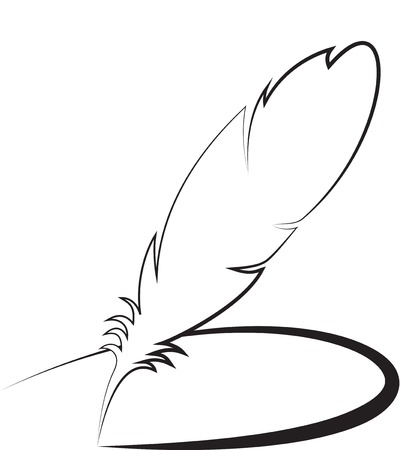 feather pen: Feather with line