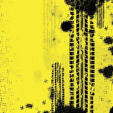 pintura abstracta: Neum�ticos fondo amarillo pista Vectores