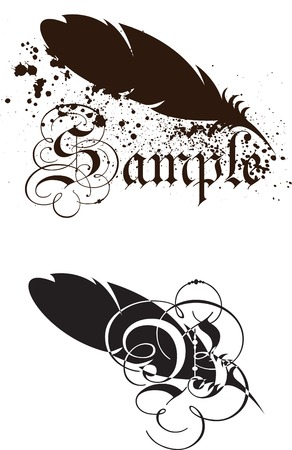 old writing: Feather with text Illustration
