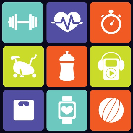 Fitness icons square Vector