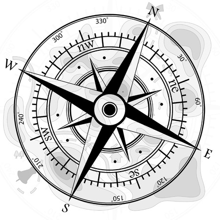windrose: Compass with map