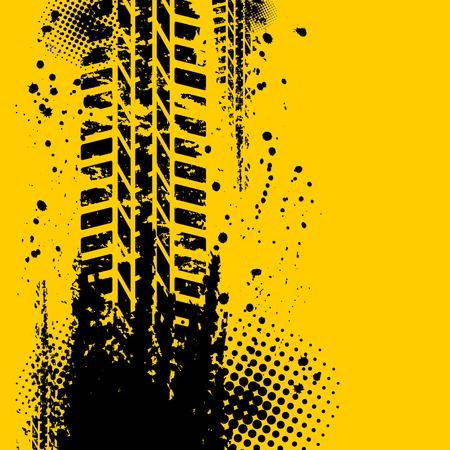 banda de rodamiento: Neum�ticos fondo amarillo pista Vectores