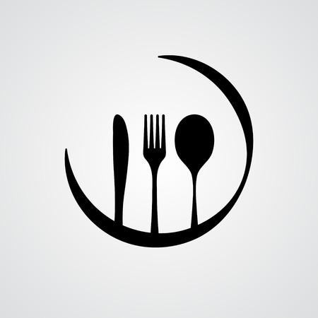 Cutlery in black Vector