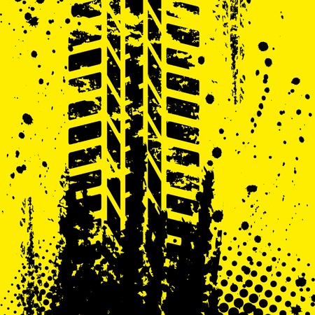 Yellow tire track wallpapper Vector
