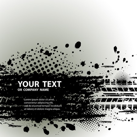 Tire track background with text