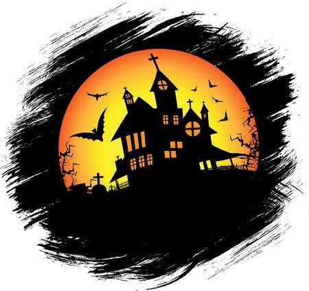 halloween castle: Halloween castle with sun Illustration