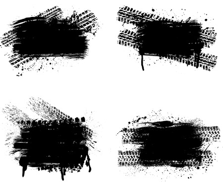 huellas de neumaticos: Grunge conjunto neum�tico pista Vectores