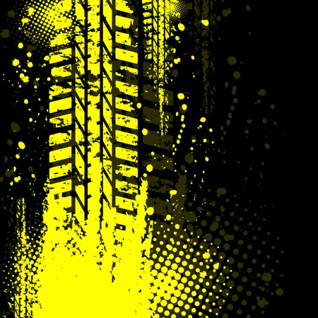 Yellow background tire track 일러스트