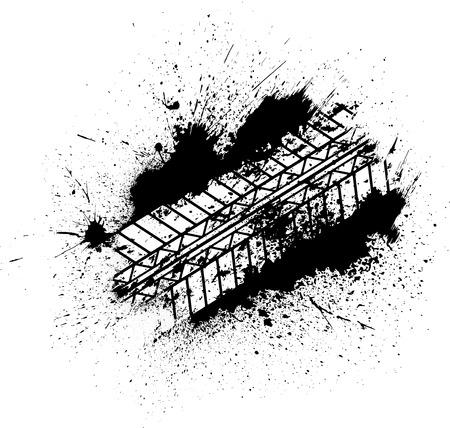 skid: Tire tracks with blots Illustration