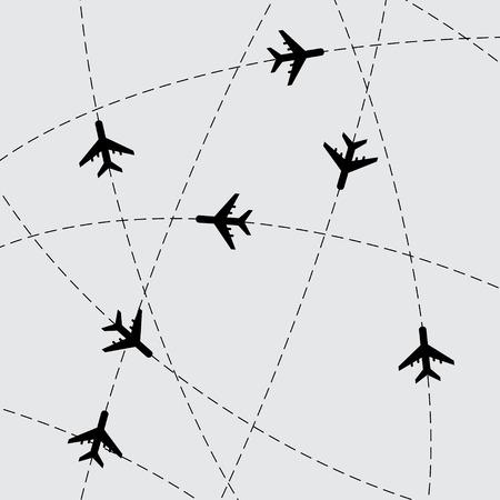 avion caricatura: Fondo gris con l�neas de trazo y aviones. eps10 Vectores