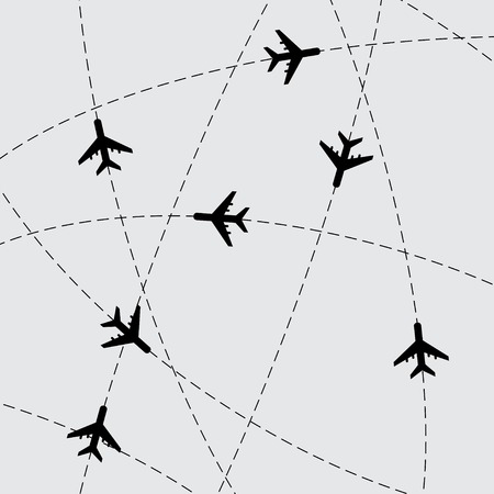 cartoon globe: Gray background with stroke lines and airplanes. eps10