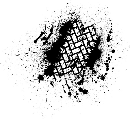 White tire track on black ink blots. eps10 Vector