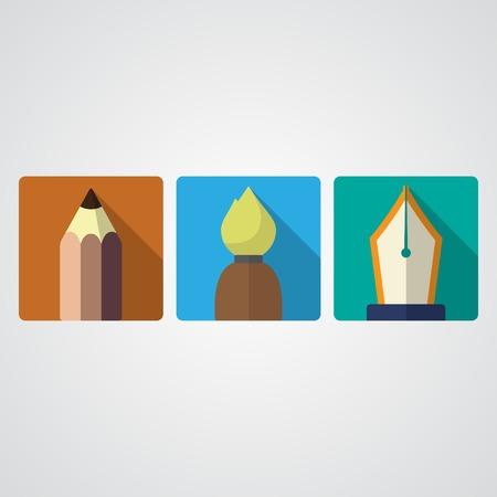 sander: Set ov three paint icons isolated on white. eps10 Illustration