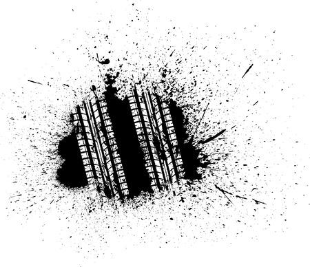 Black ink blots with white tire track silhouette. eps10