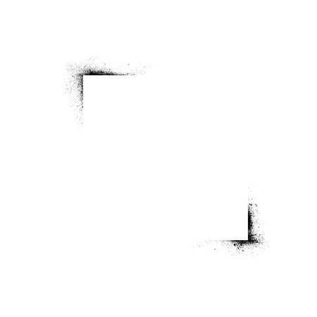 White square with black ink blots in corners. eps10 Illustration