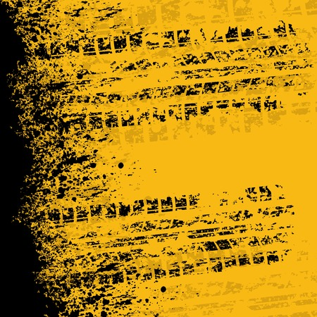 motor racing: Yellow grunge tire track with ink blots. eps10