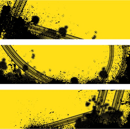 Set of three tire track banners with halftone pattern. eps10 Vector