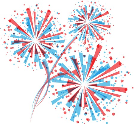 Fireworks in white Vector