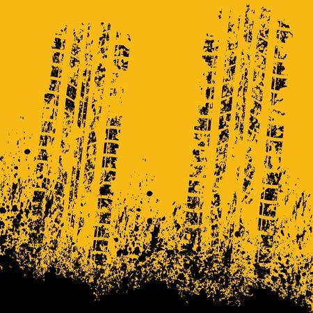 skidding: Yellow tire track Illustration