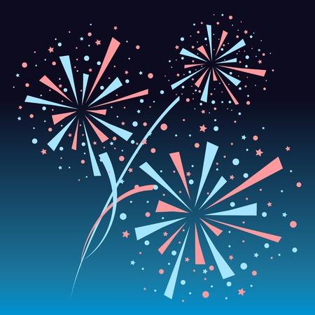 navy blue background: Big red and blue fireworks on navy blue background. eps10 Illustration