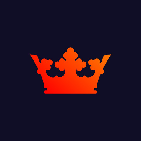 Orange King Crown Symbol Isolated On Navy Blue Background Eps10