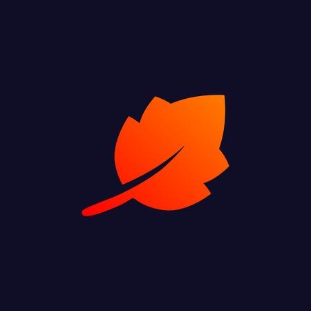 navy blue background: Orange leaf isolated on navy blue background. Illustration
