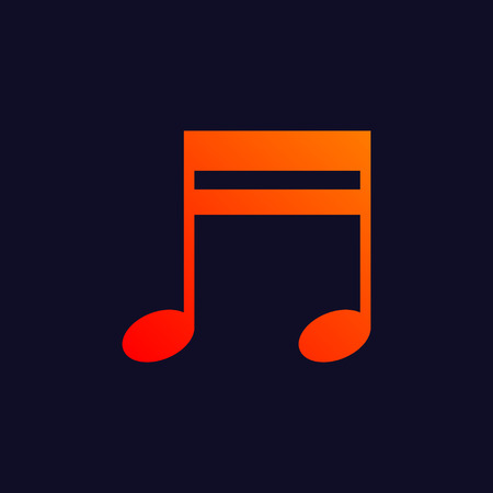 minims: Orange music note symbol isolated on blue background. Illustration