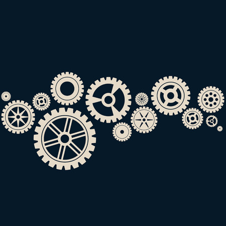 Abstract dark blue background with white gears.