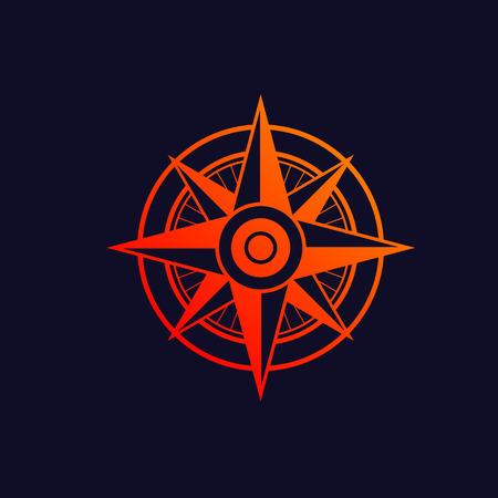 windrose: Orange windrose symbol isolated on blue background.