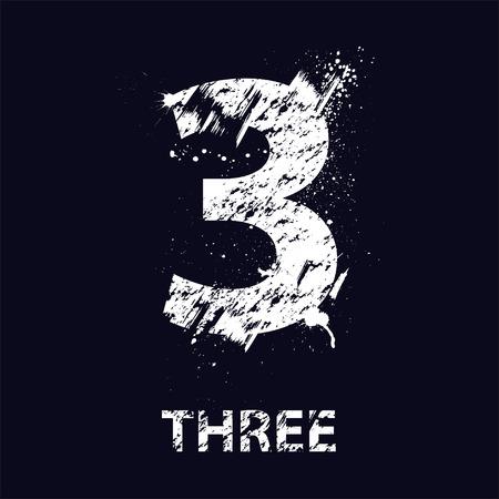 Numberthree grunge blanco con manchas de tinta. Foto de archivo - 42626996