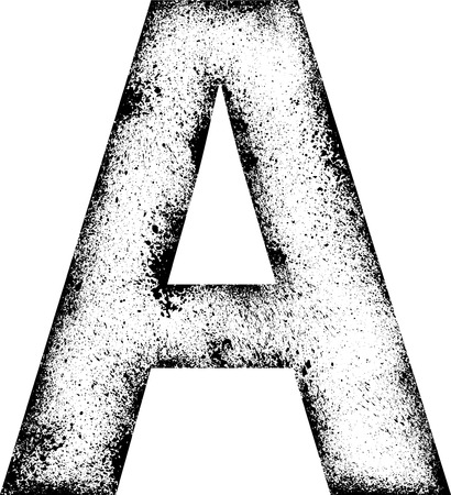 ink blots: Black grunge letter A with ink blots.
