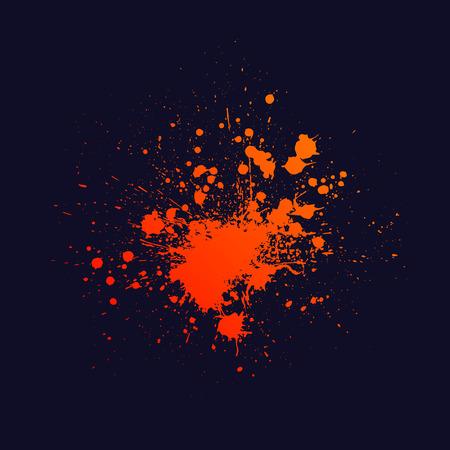 navy blue background: Orange ink blots splash isolated on navy blue background. Illustration