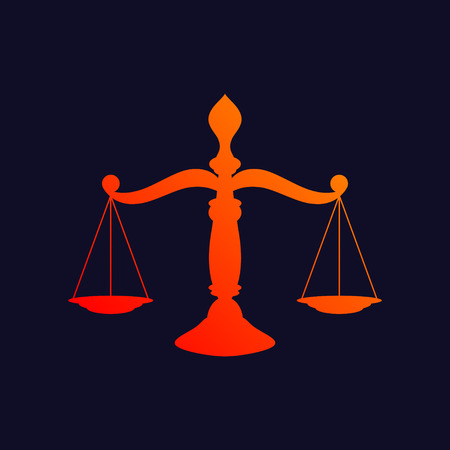 justice scale: Orange scale of justice symbol isolated on blue background.