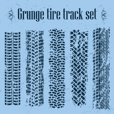 the tire: Set of five tire track silhouette on blue.