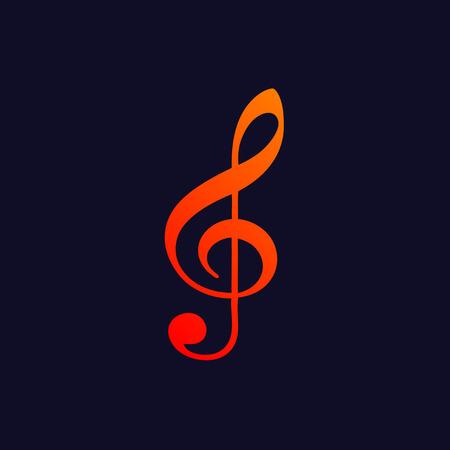 Orange treble clef symbol isolated on blue background.  Illustration