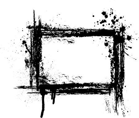 Black grunge frame on white background.  Vectores