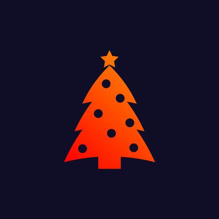 navy blue background: New year tree symbol isolated on navy blue background.  Illustration