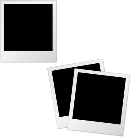 old photo: Set of two old photo frames isolated on white.