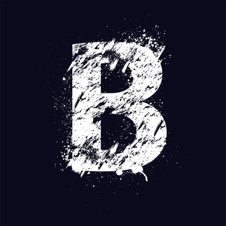 pencil drawing: White grunge letter B isolated on dark background.