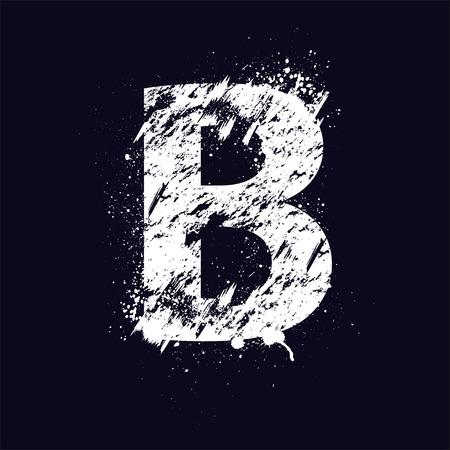 letter b: White grunge letter B isolated on dark background.