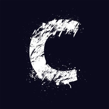 design graphic: White grunge letter C isolated on dark background.