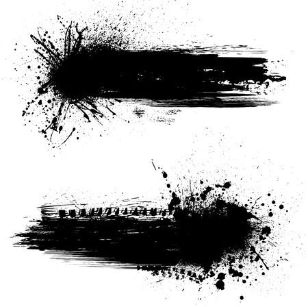 paint splash: Set of two black grunge banners with ink blots.